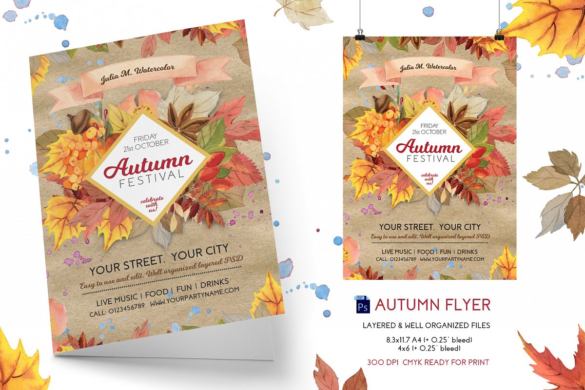 autumnfall festival flyer template example image 1