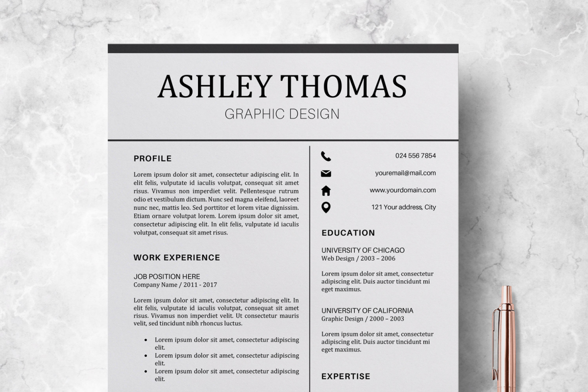 resume cv template cover letter ashley thomas example image 1
