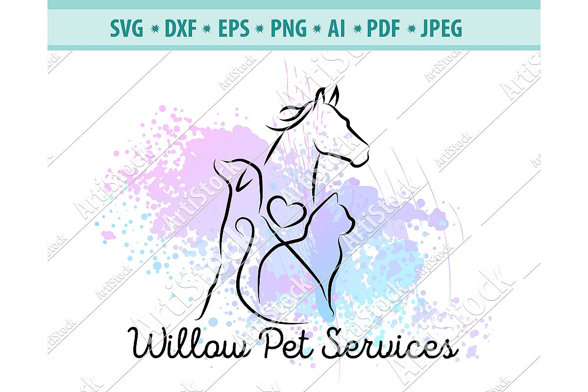 Cat & Dog SVG, Veterinary Logo Svg, Cute pets Dxf, Png, Eps example image 1