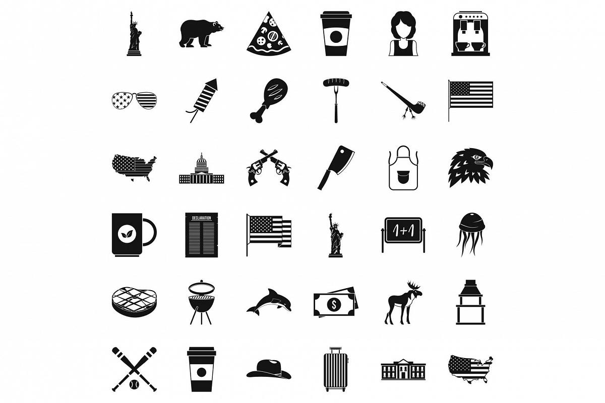 Usa flag icons set, simple style example image 1