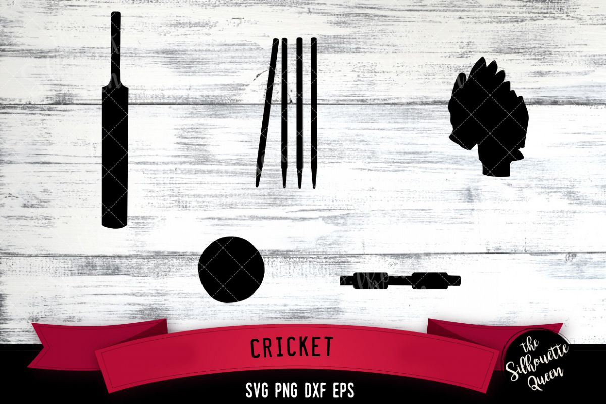 Cricket Equipment svg file, bat ball wicket svg cut file example image 1