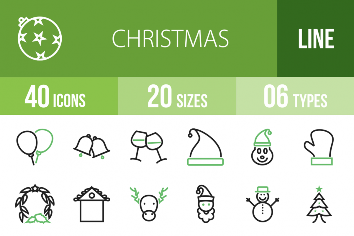 40 Christmas Line Green & Black Icons example image 1