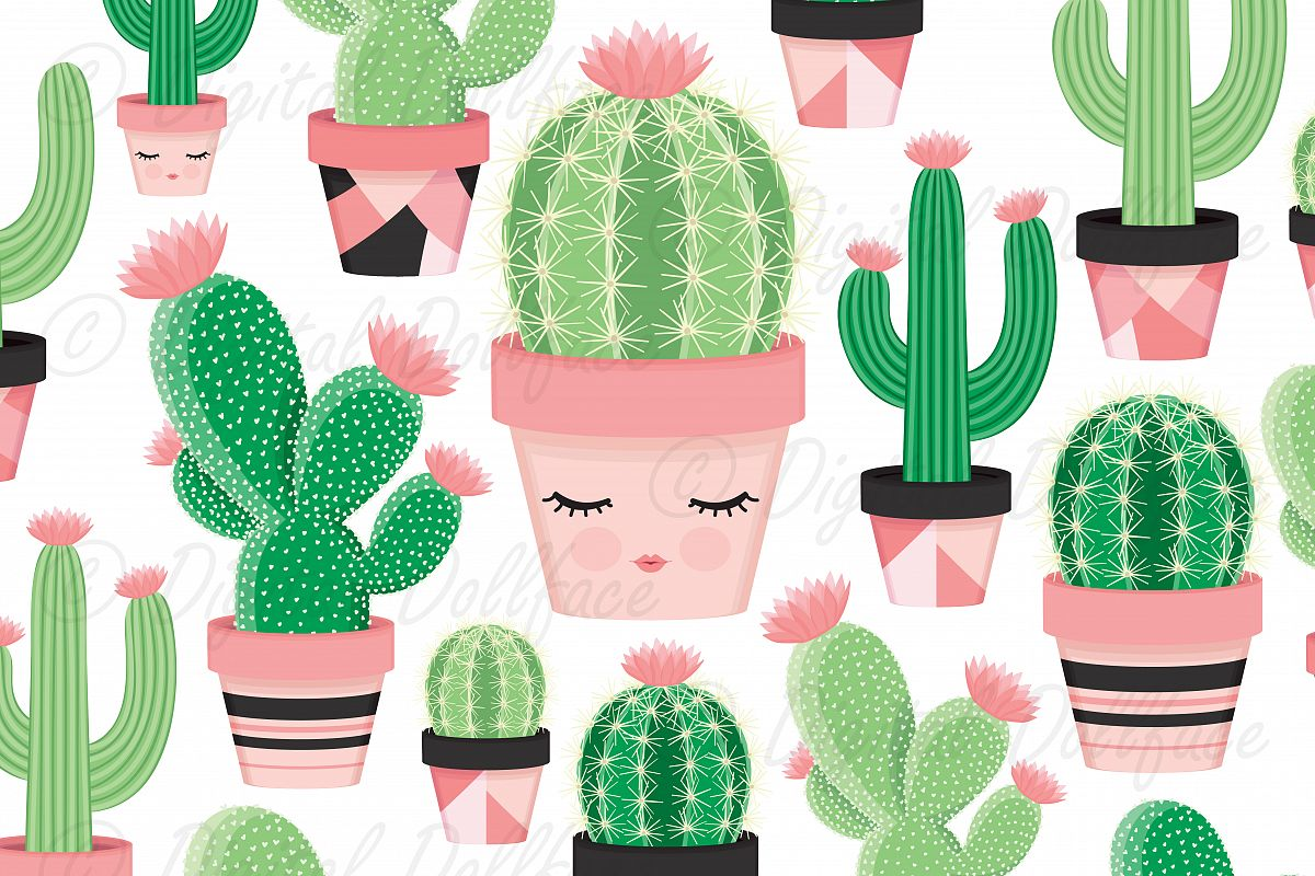 Potted Cactus / Succulent Clip Art Images example image 1