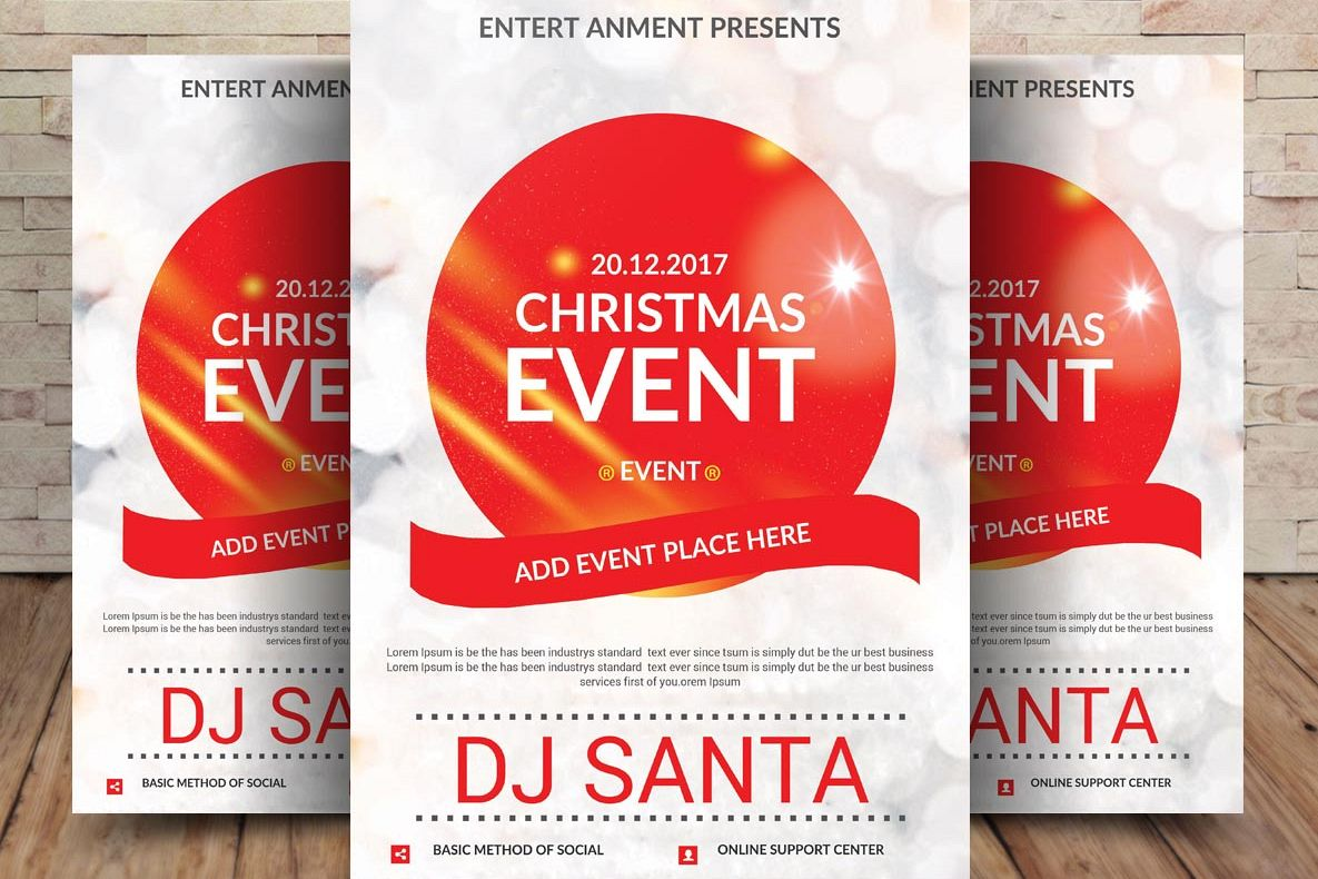 Christmas Event Poster Template By Sana Design Bundles
