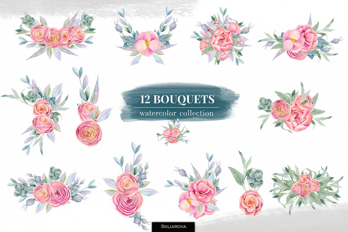 12 Bouquets, Floral boxes watercolor col. example image 1