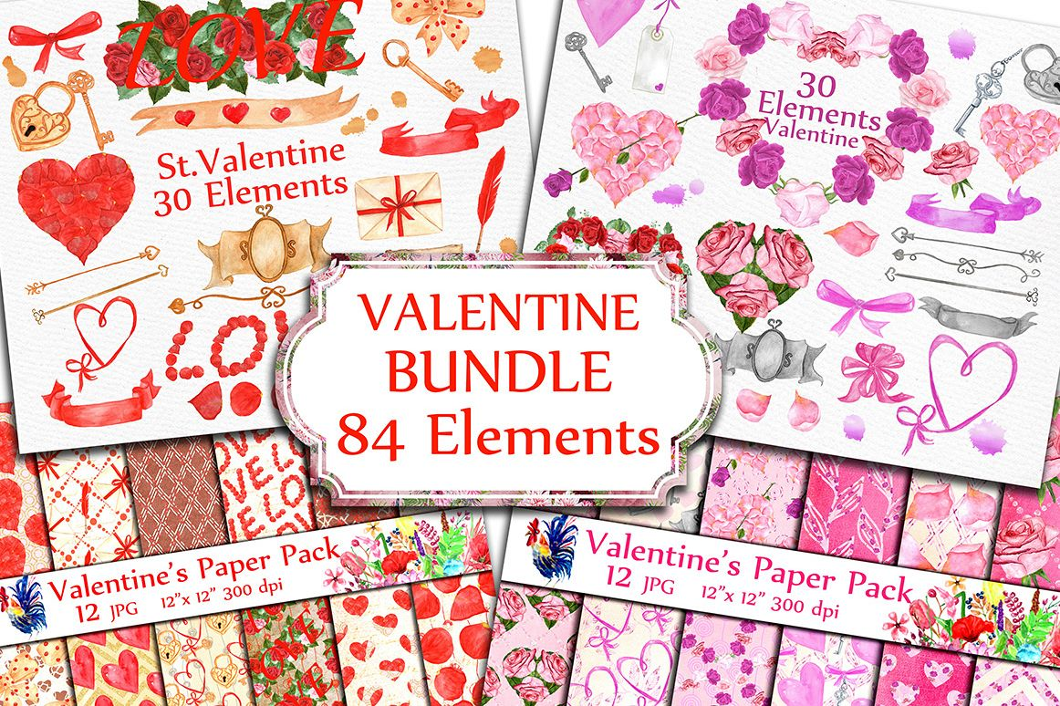 BUNDLE-Valentine's Day clipart example image 1