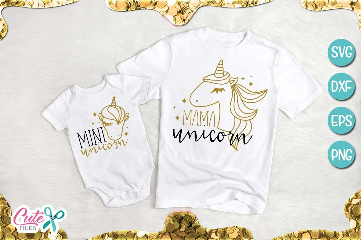 Mama and mini unicorn SVG for crafter example image 1