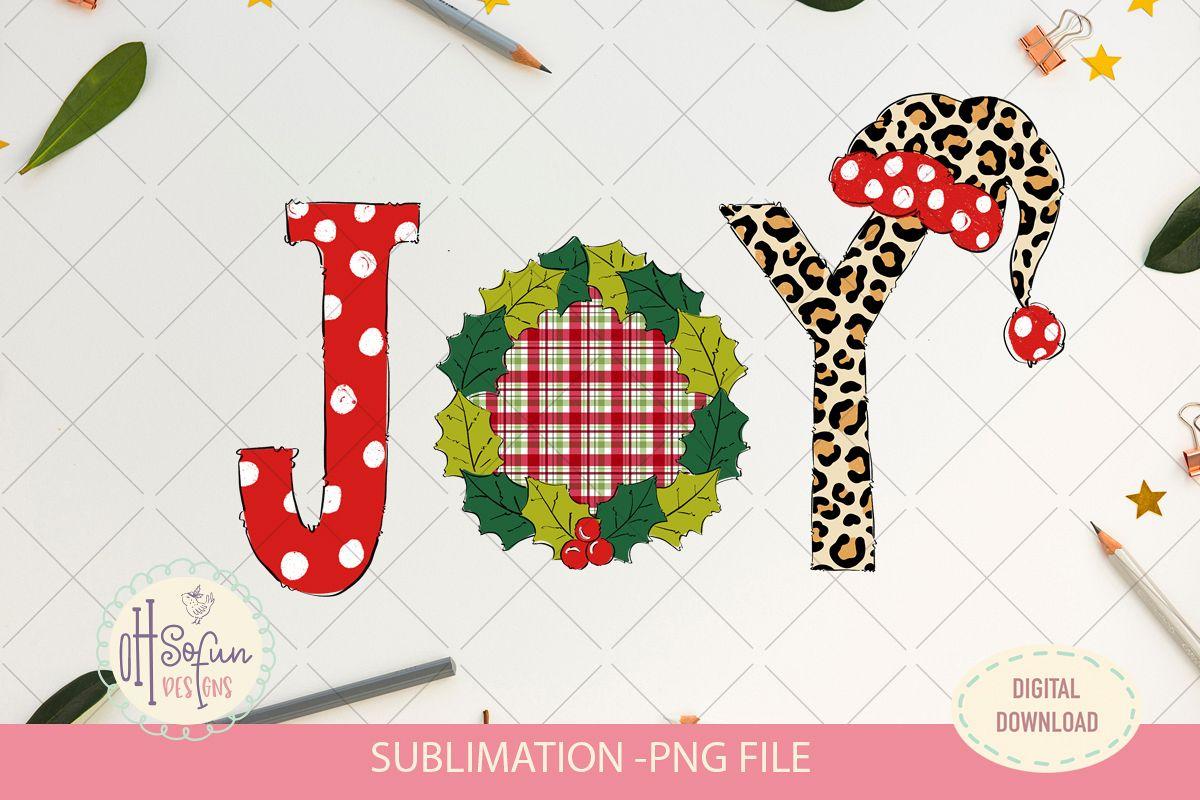 Joy christmas sublimation, chrismas doodle polka dot example image 1