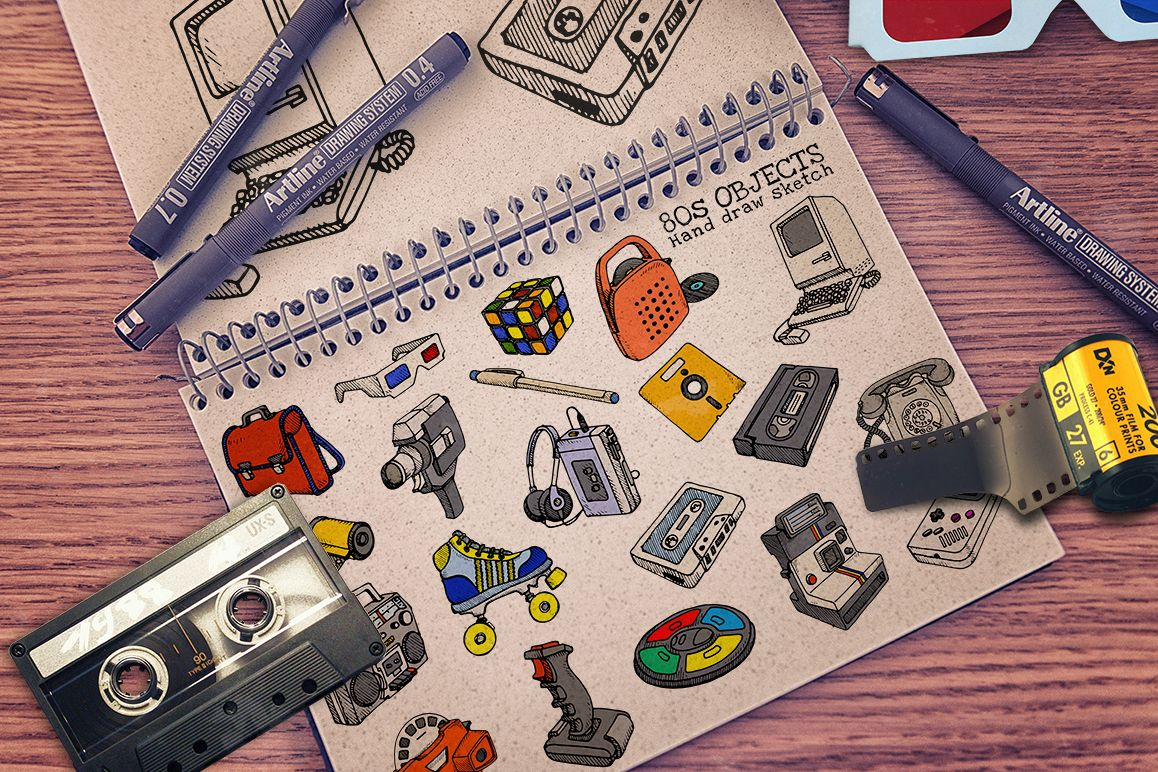 80s Objects hand draw vector example image 1