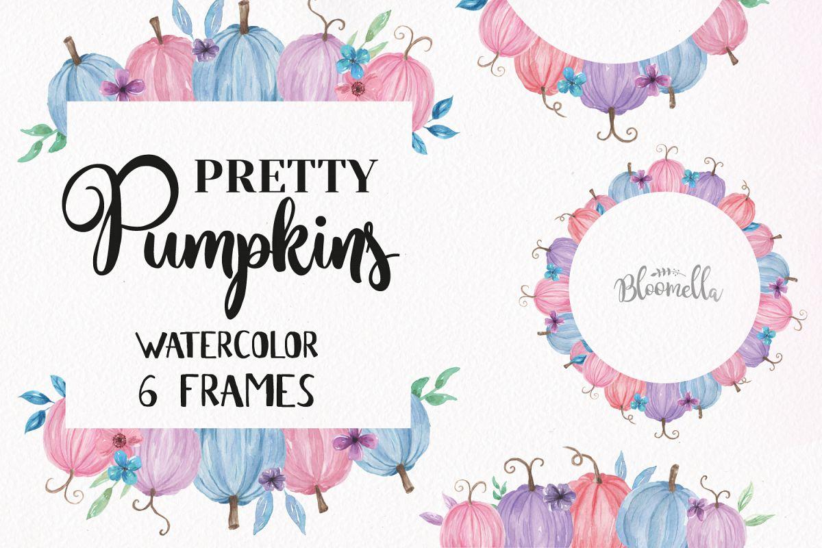 Pumpkin Pastels Festival Frames Watercolor Clipart Border Pink