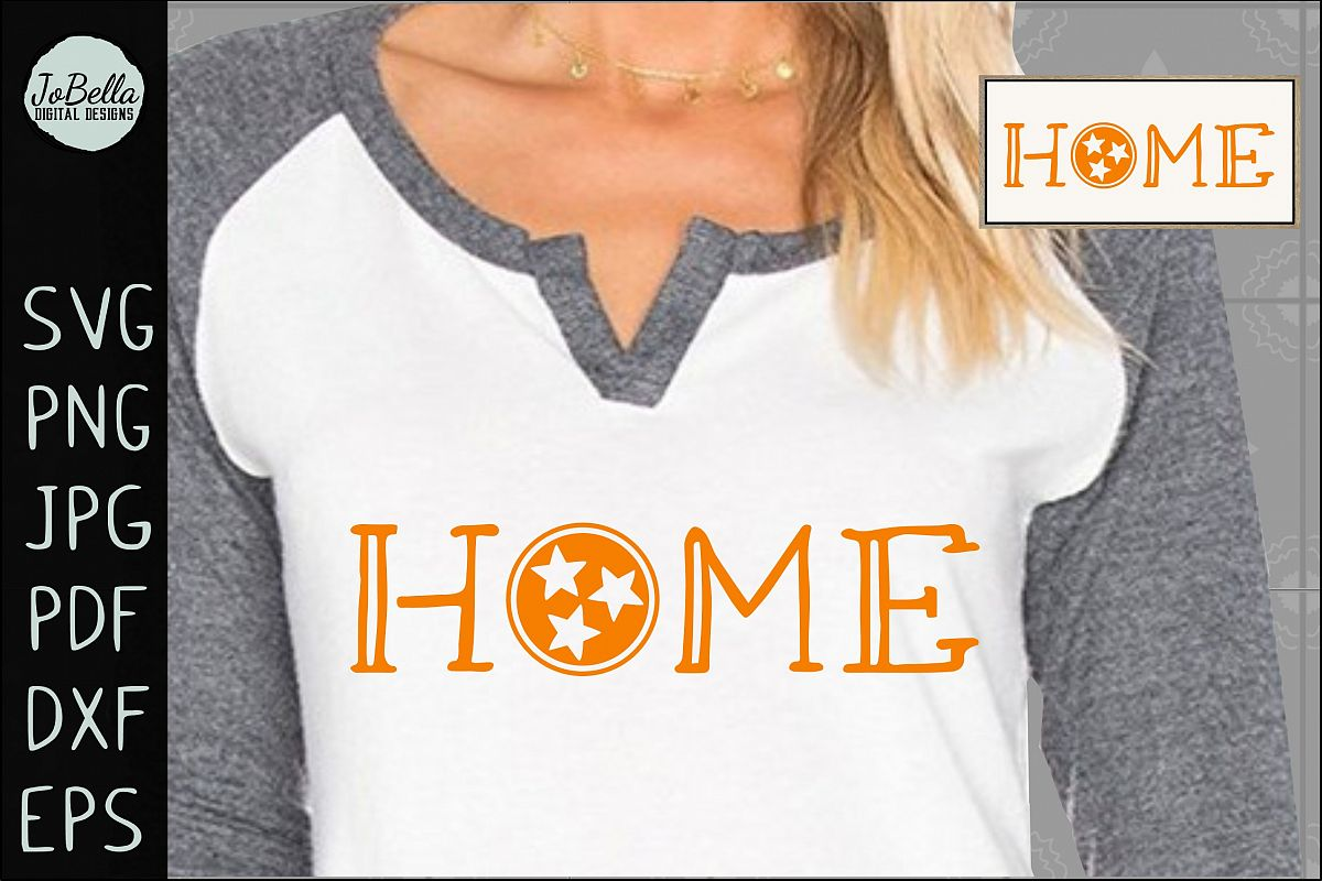 Home with Tennessee TriStar SVG, Sublimation PNG & Printable example image 1