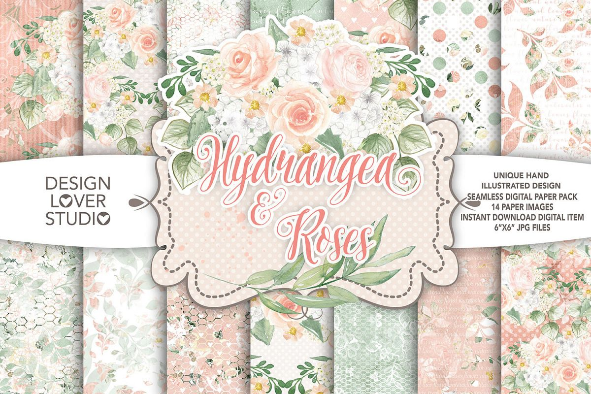 Watercolor Hydrangea and roses digital paper pack example image 1