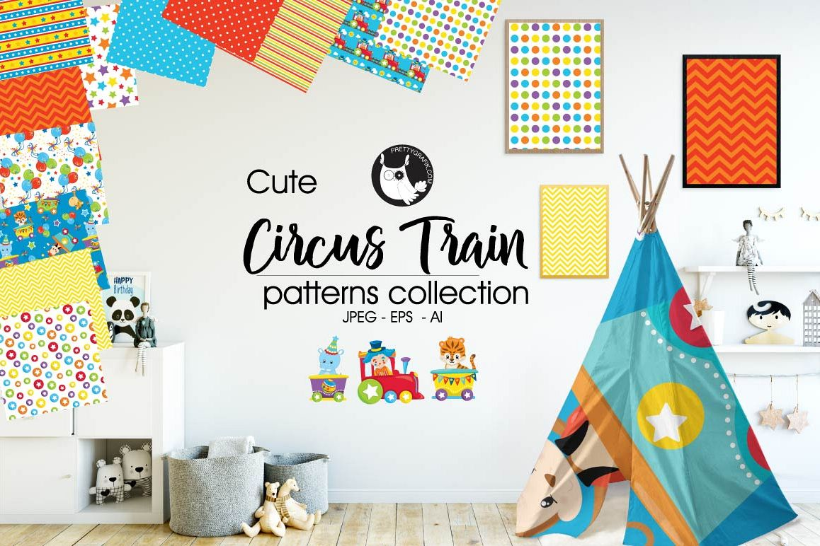 Circus-train, digital papers example image 1