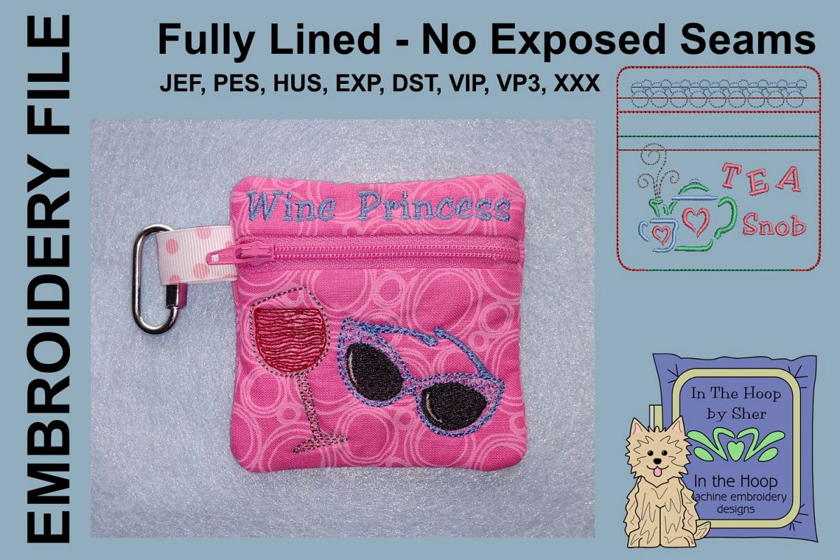 Wine Princess Zipper Bag / Fully Lined, 4X4 HOOP example image 1