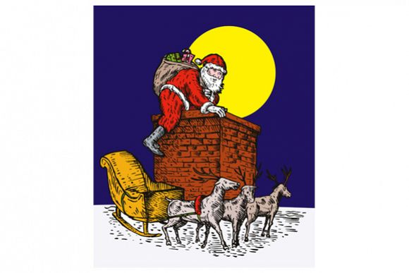Santa Claus Over Chimney example image 1
