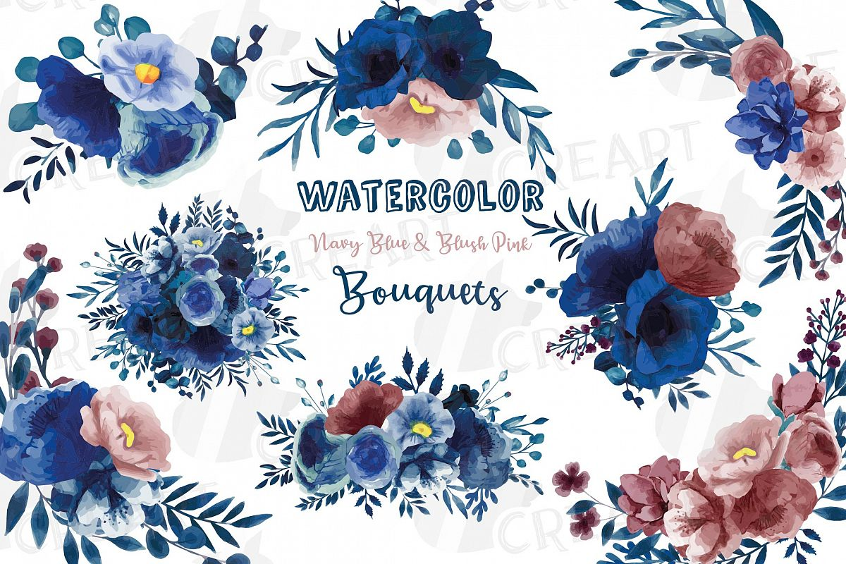 Navy blue and blush pink floral watercolor bouquets clip art example image 1