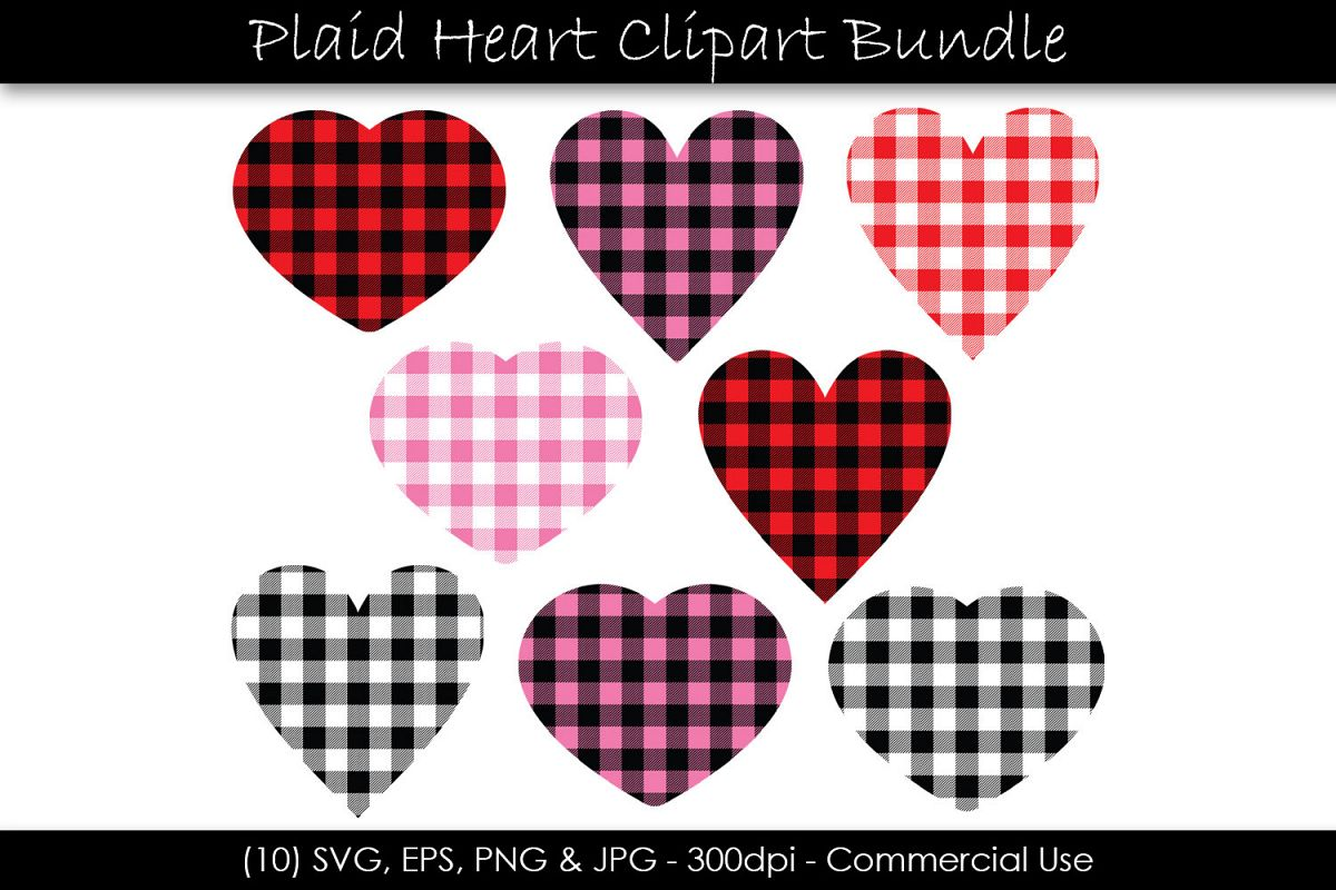 Valentine's Day Buffalo Plaid Hearts example image 1