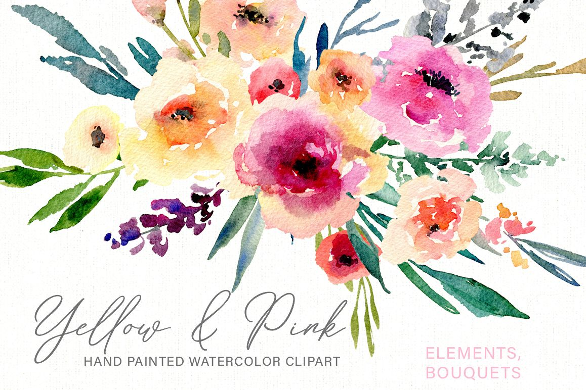 Watercolor Flowers Bouquets PNG by Wate | Design Bundles