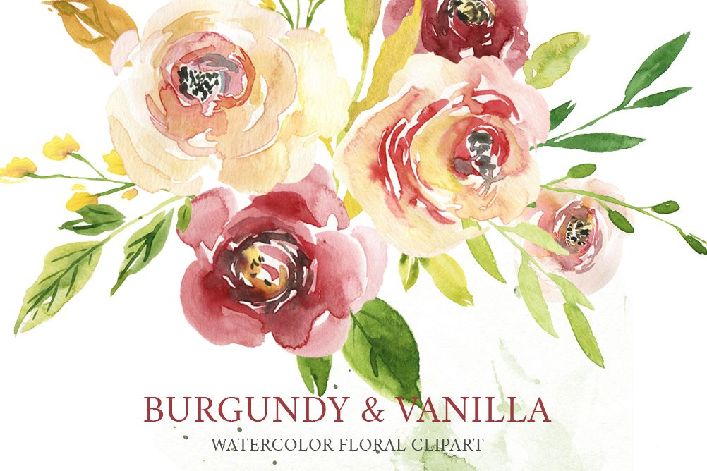 Watercolor burgundy & yellow white creamy flowers example image 1