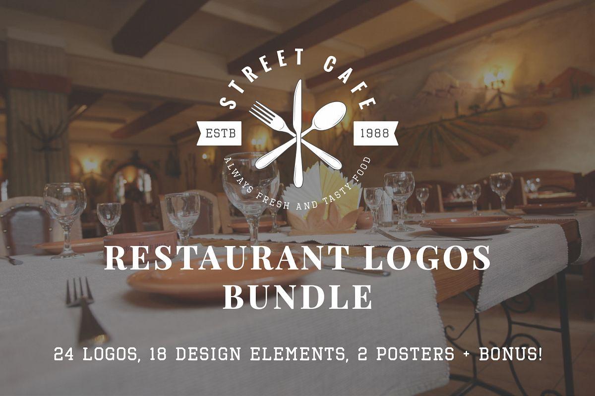 Vintage Restaurant Emblems Bundle example image 1