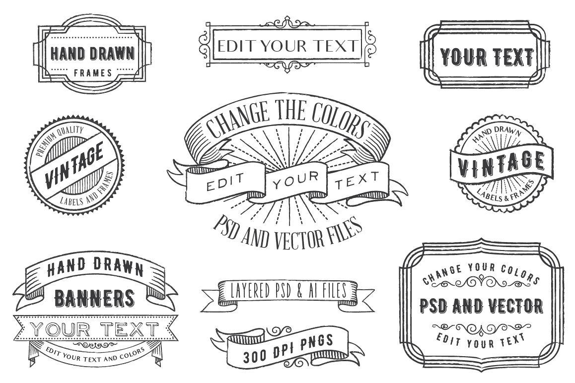 PSD Overlays Labels, Frames, Banners by | Design Bundles