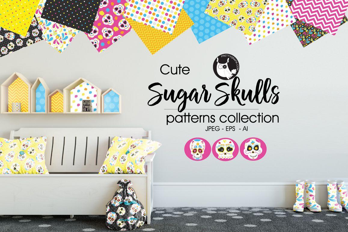 sugar-skulls, digital papers example image 1