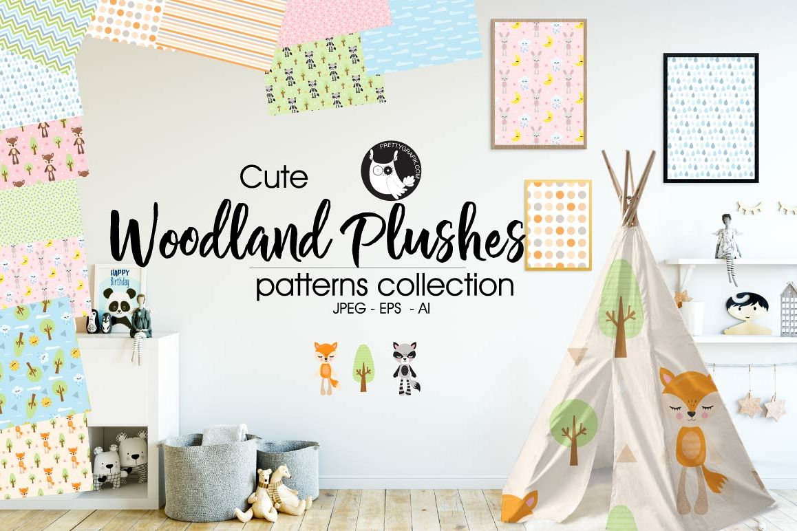 WOODLAND-PLUSHES, digital papers example image 1