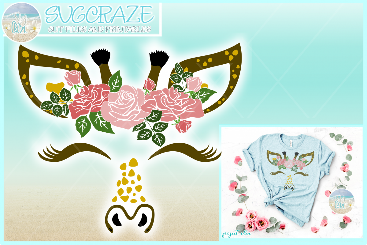 Giraffe Face with Roses Svg Dxf Eps Png Pdf Files example image 1