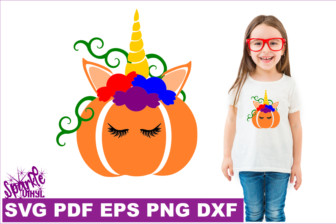 Unicorn Pumpking with Candy SVG DXF EPS PNG PDF files for cricut and silhouette example image 1