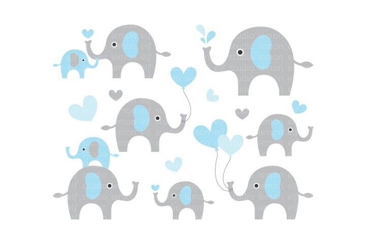 Cute Elephants-Digital Clipart (LES.CL10A) example image 1