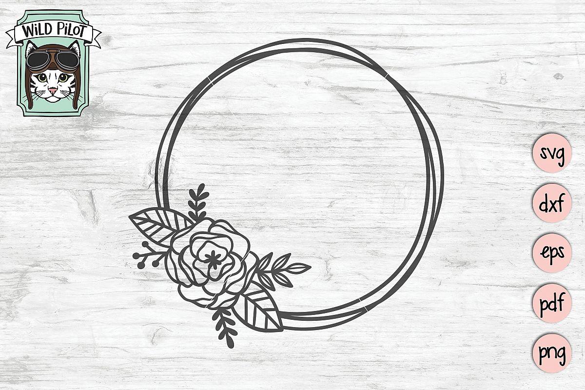 Flower Frame SVG file, Circle Frame, Offset Circle Wreath example image 1