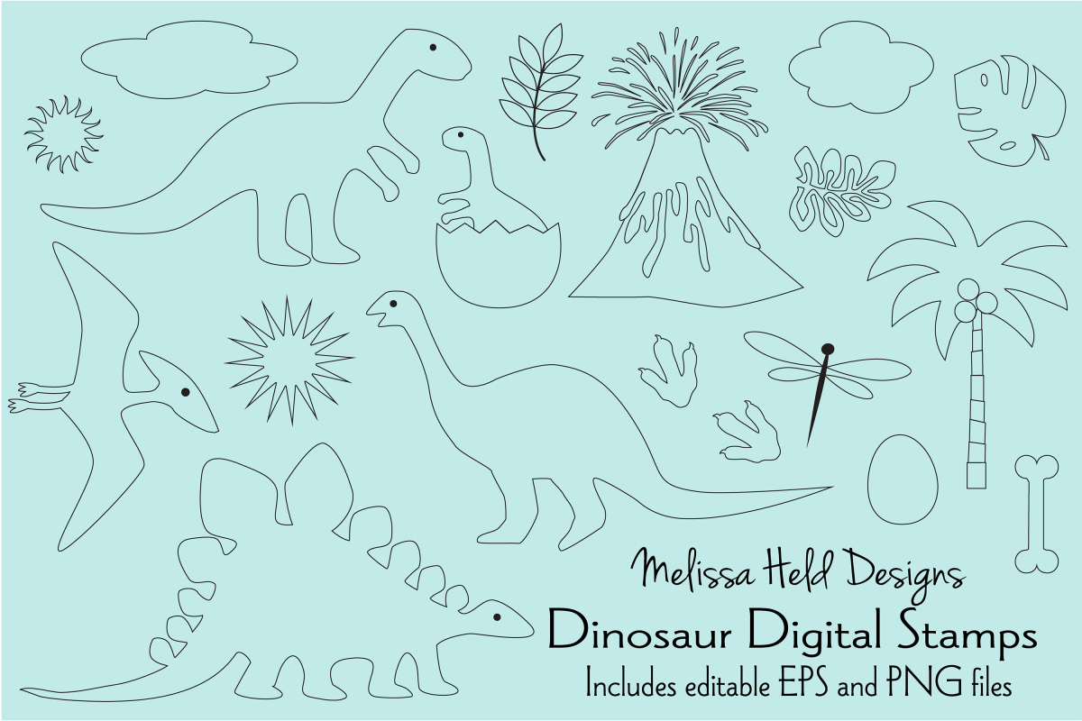 Dinosaur Digital Stamps Clipart example image 1