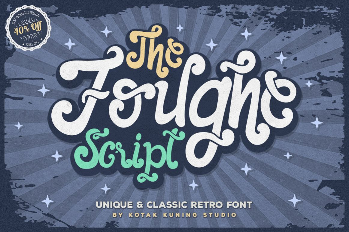 The Foughe Script - Unique Retro Font example image 1