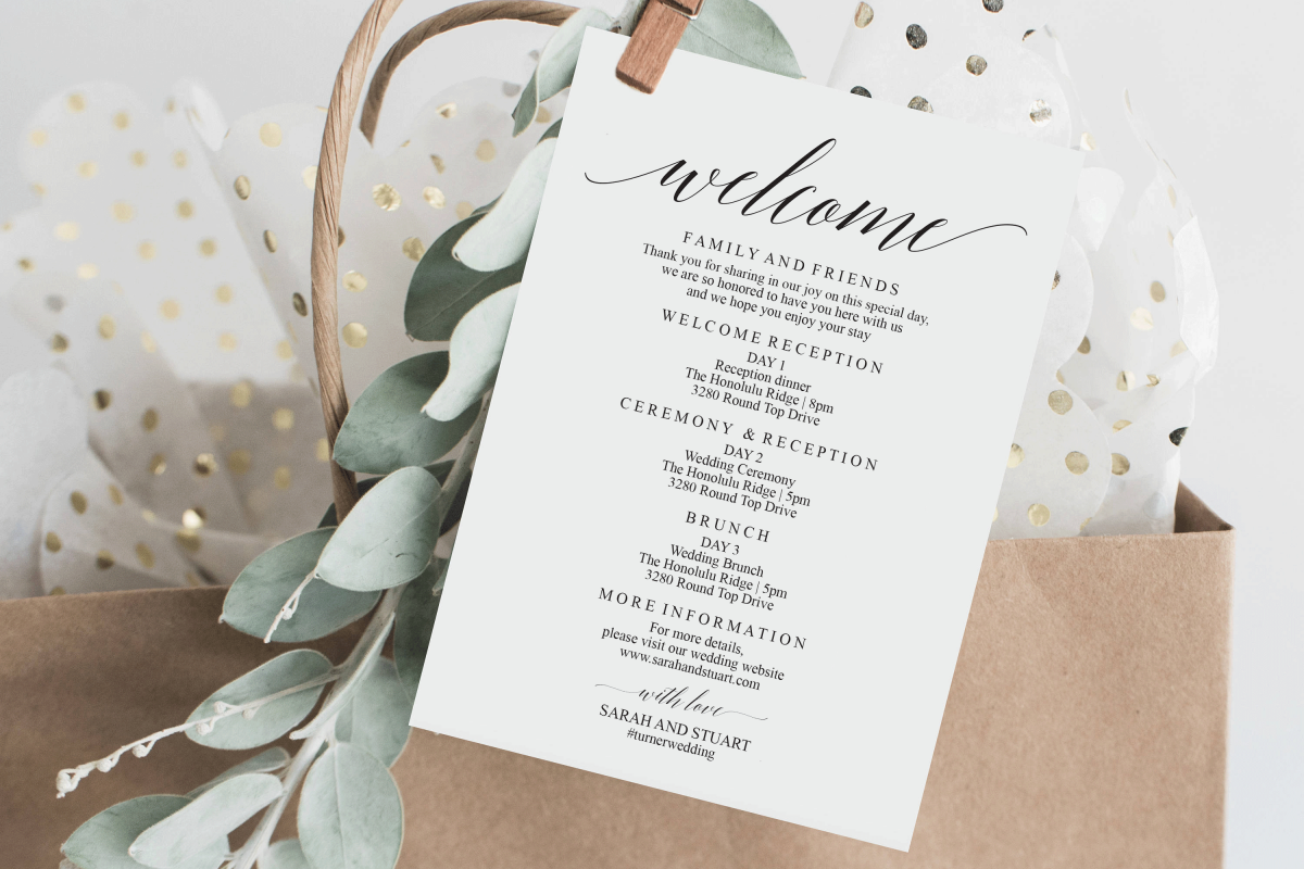 Wedding Itinerary Cards Template Wedding Welcome Bag Tags