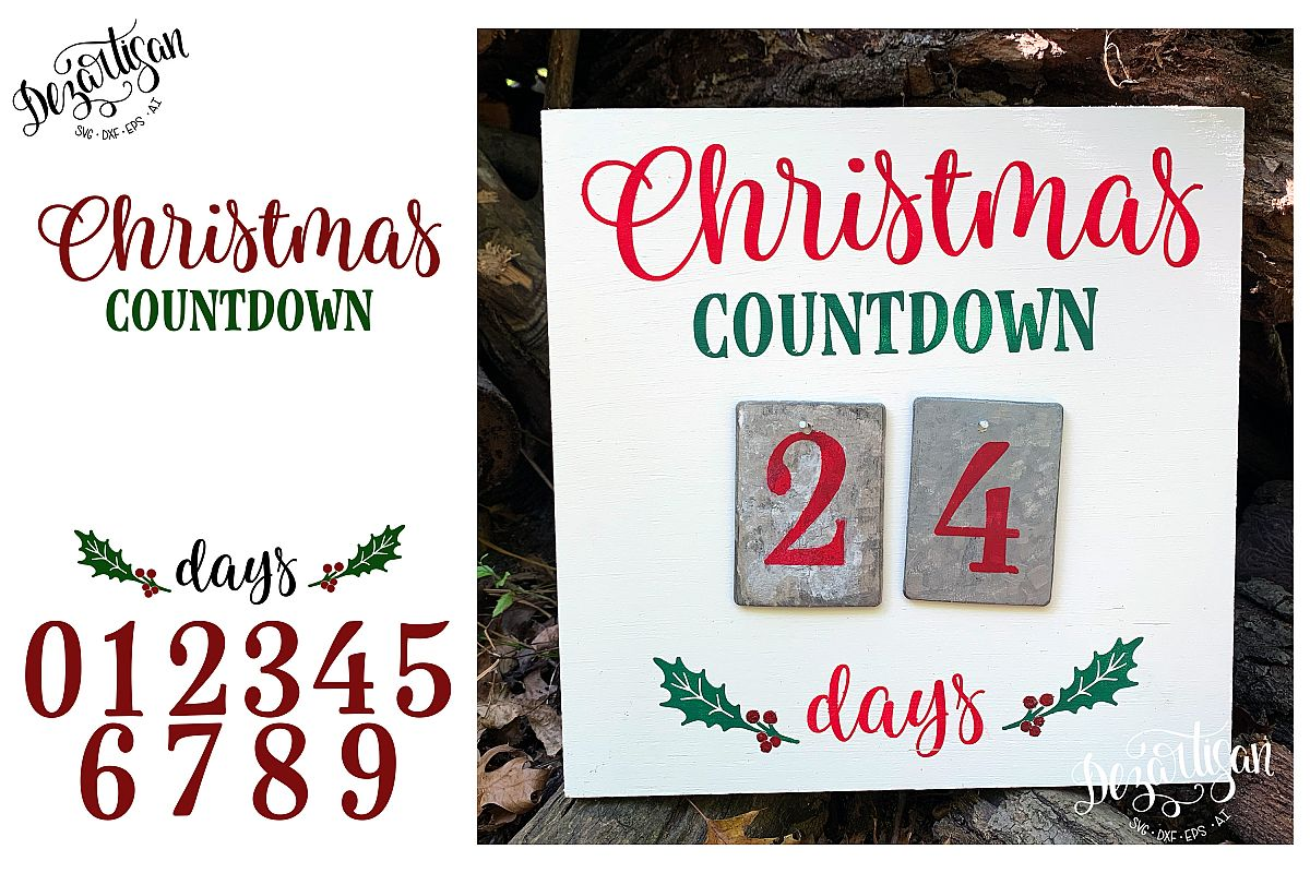 Christmas Countdown Advent Calendar SVG | DXF example image 1