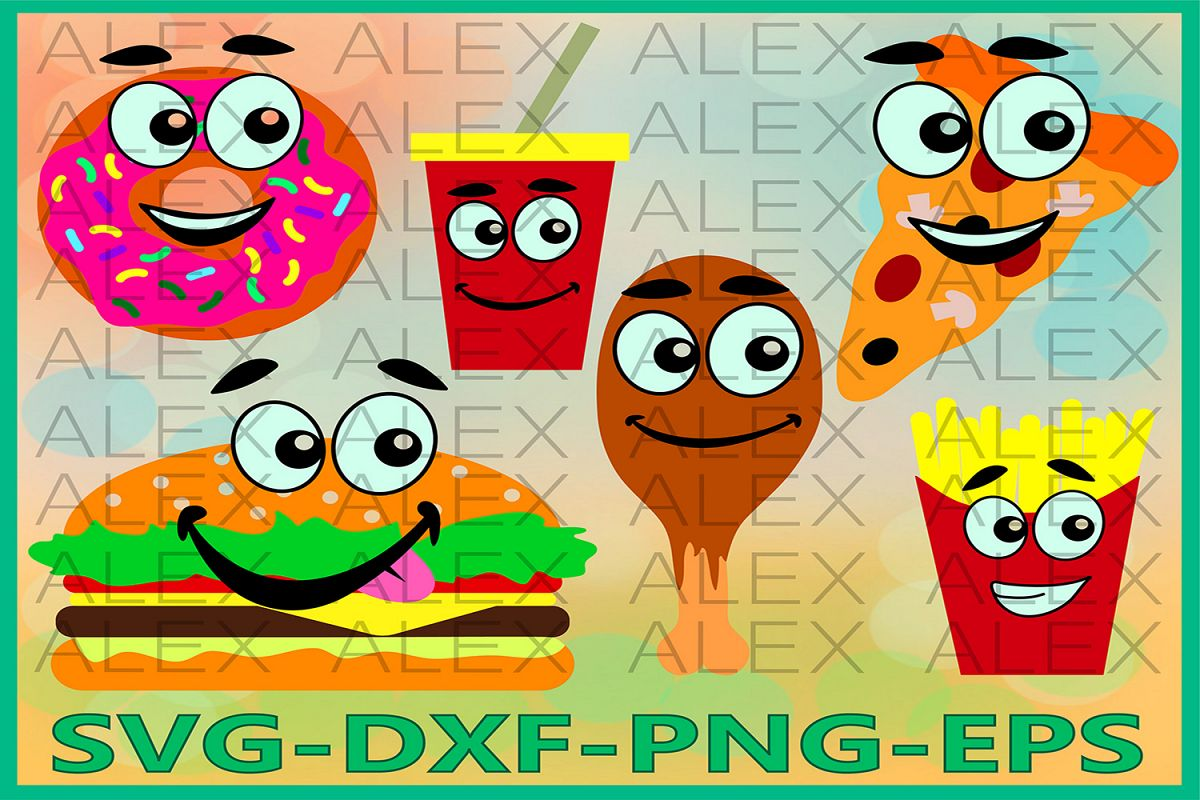 Fast Food Svg, Burger svg, Fast Food Face, French Fries Svg example image 1