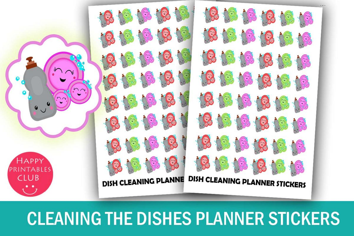 Cleaning the Dishes Planner Stickers-Dish Cleaning Stickers example image 1