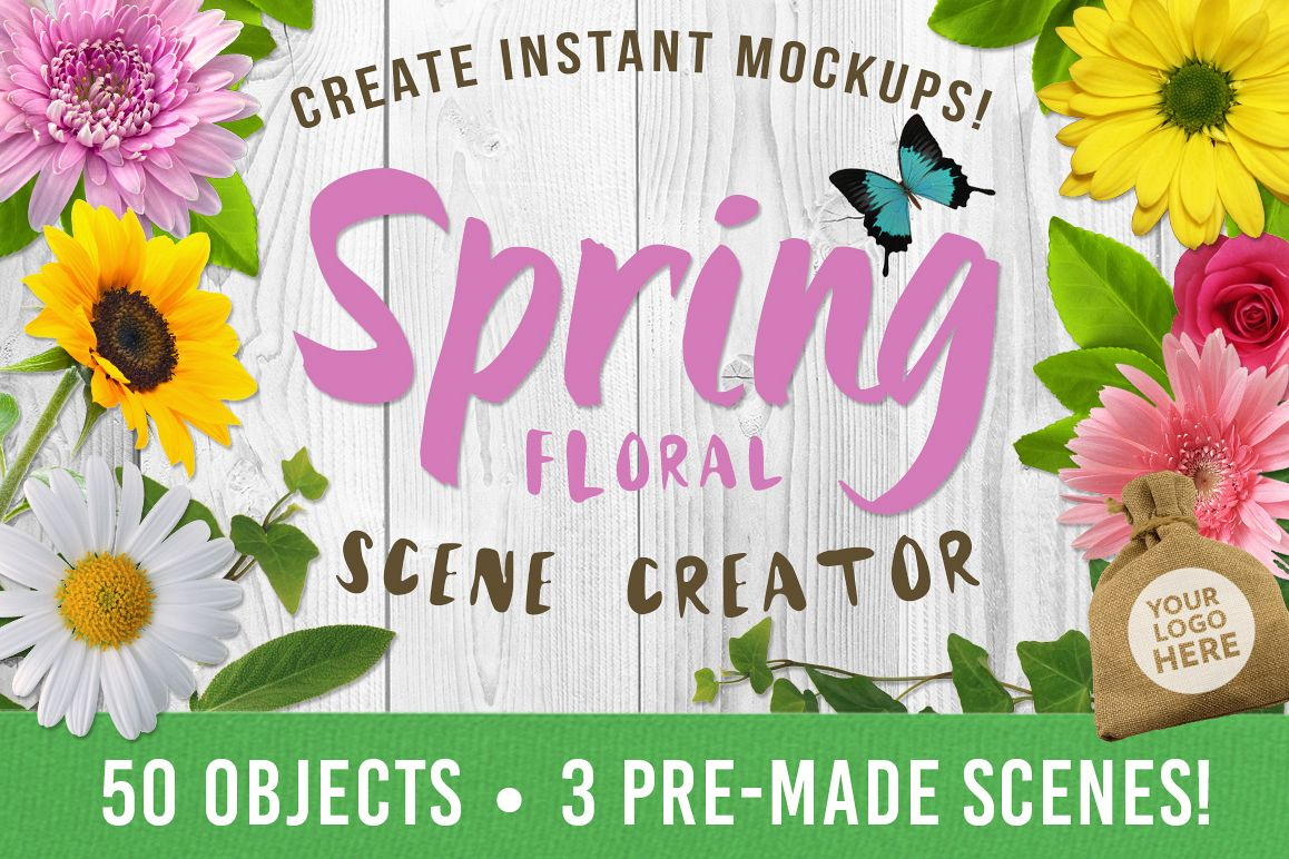 Spring Floral Mockup Scene Creator example image 1
