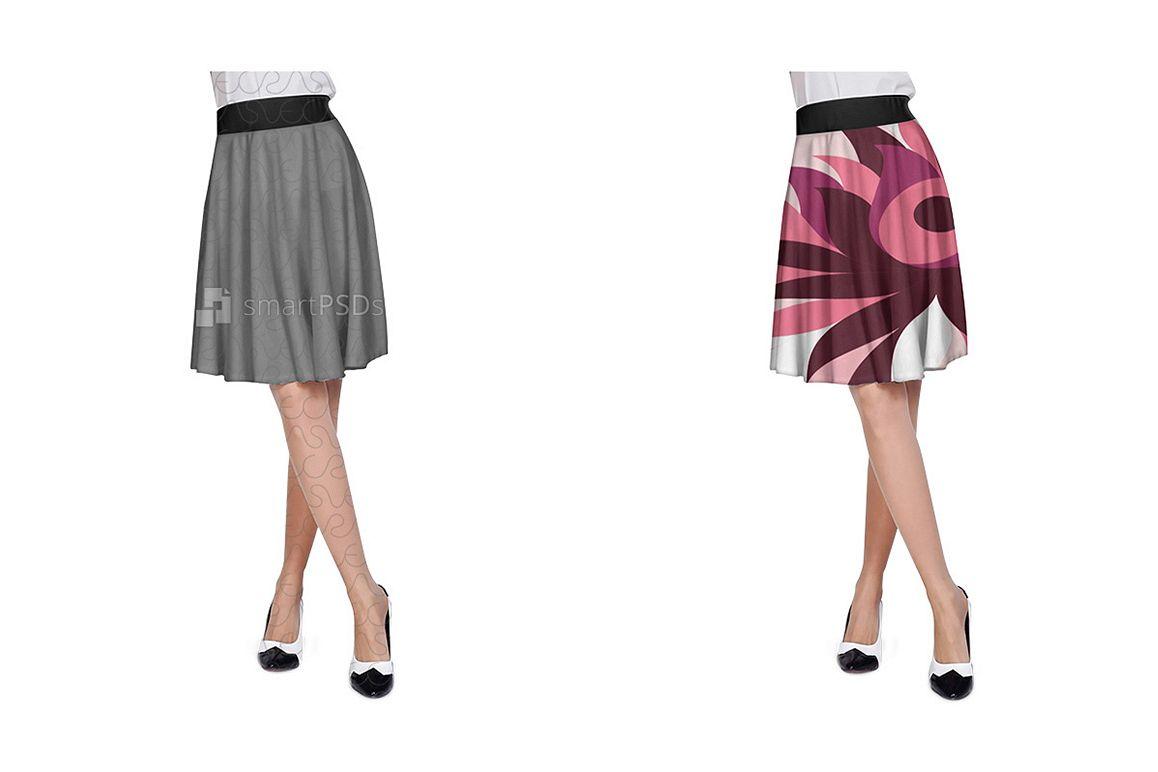 A-Line Skirt Dress Design Mockup for Textile Print Sublimation - 2 Views example image 1
