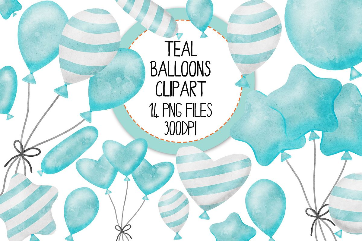 Teal Watercolor Balloon Clipart Set example image 1