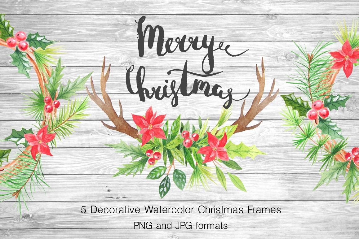 Watercolor Christmas Wreathes example image 1