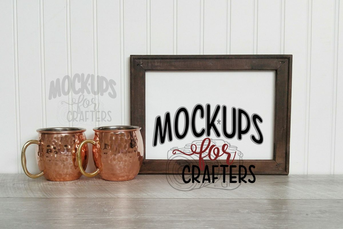 MOCK-UP reverse canvas with copper mule mugs example image 1
