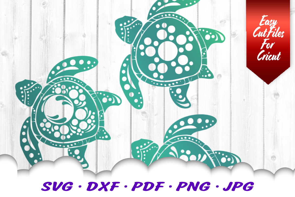 Mandala Sea Turtle SVG DXF Cut Files Bundle V3 example image 1
