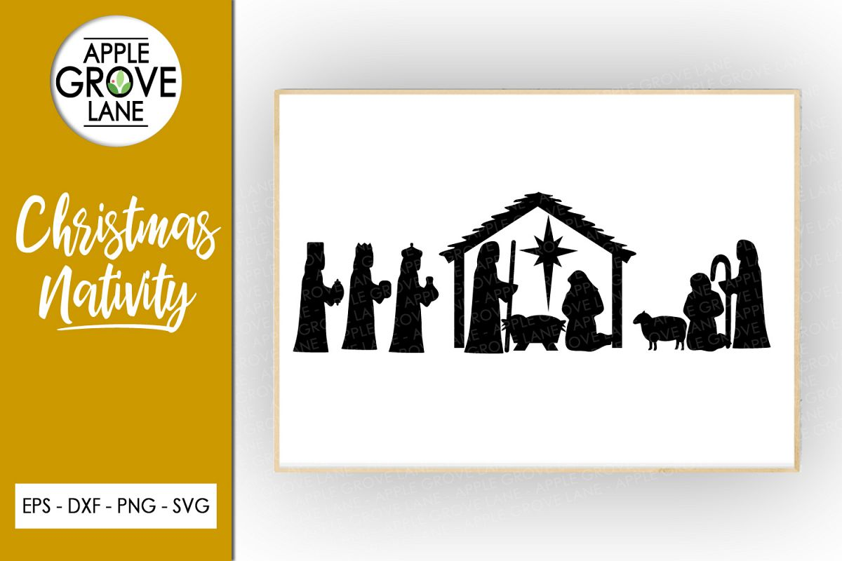 Christmas Nativity Svg Cut File - Svg Dxf Eps Png example image 1