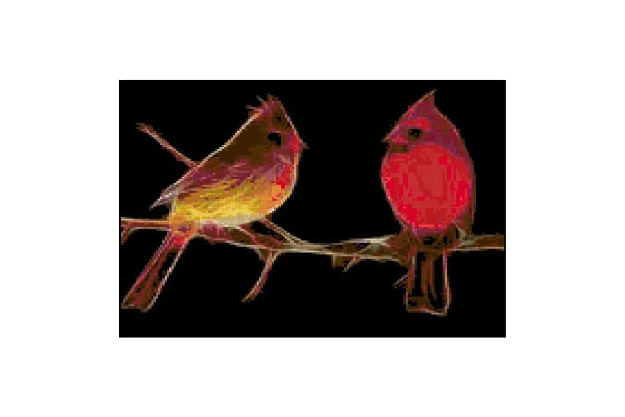 Fractal Cardinals Cross Stitch Pattern example image 1