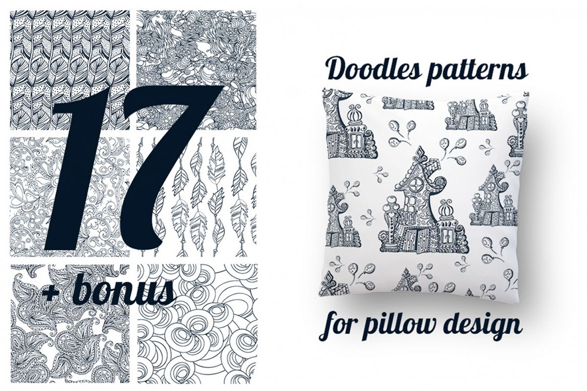 17 Doodle patterns for pillow design example image 1