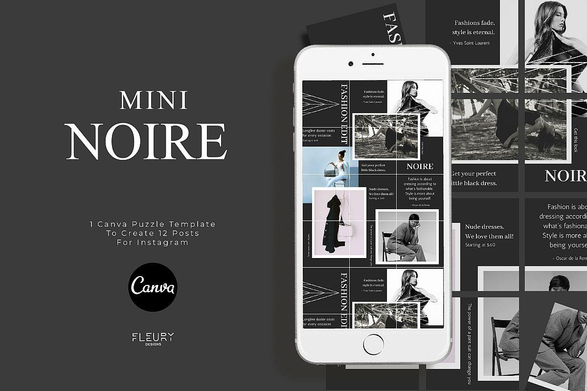 Mini Instagram Puzzle Canva Template - Noire example image 1