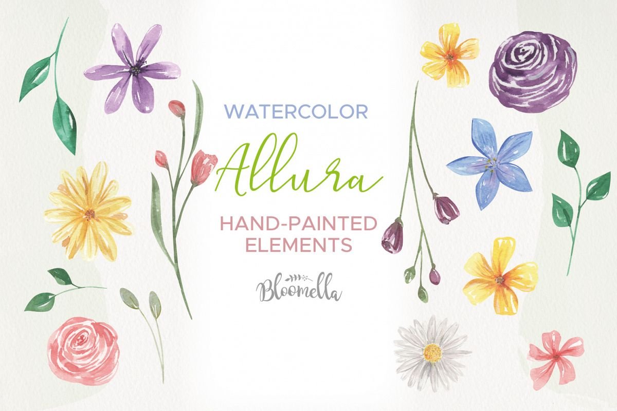 Blooms Allura Pretty Watercolor 20 Floral Elements Buds example image 1