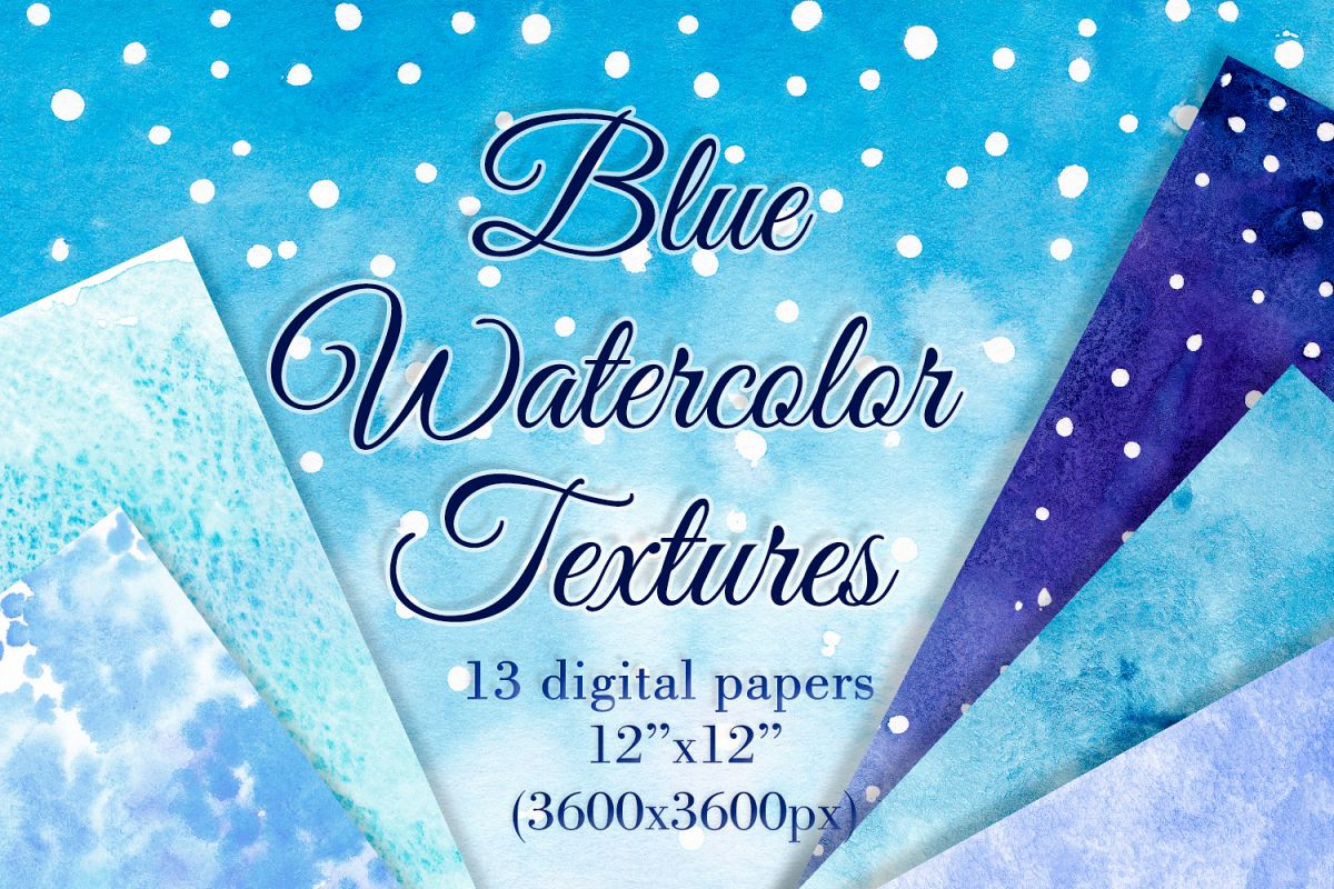 Blue watercolor backgrounds Winter digital paper example image 1