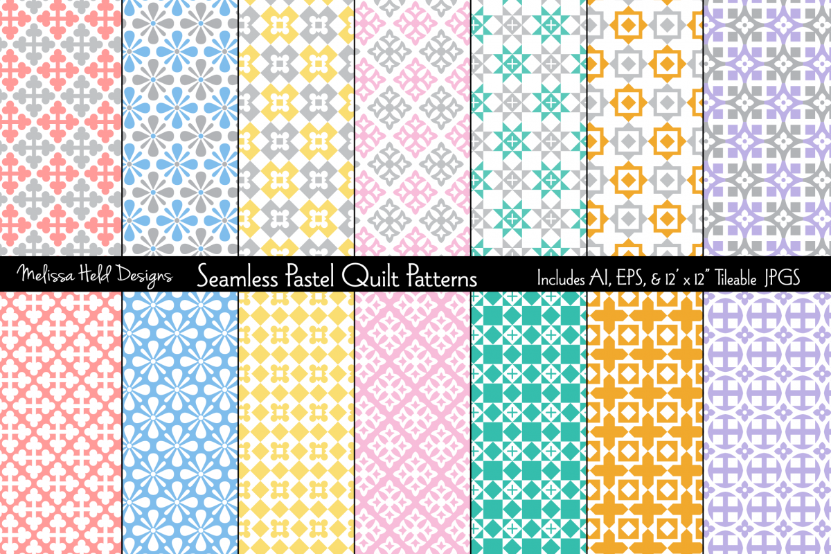 Seamless Pastel Quilt Patterns example image 1